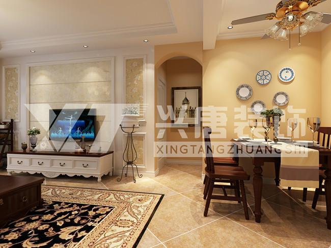 罗马景福城128平米三室两厅两卫简约美式电视墙装修效果图