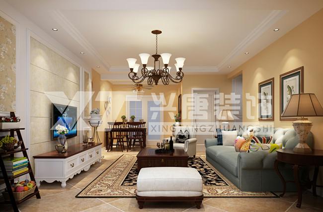 罗马景福城128平米简约美式客厅装修效果图