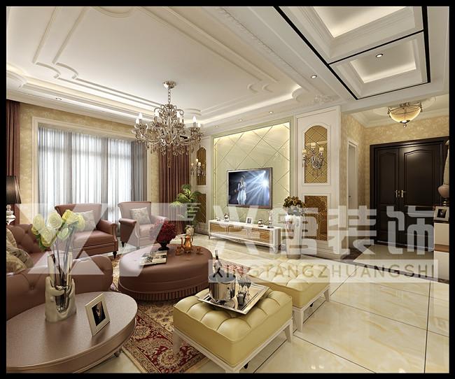 普華淺水灣145平米四室兩廳歐式客廳裝修案例