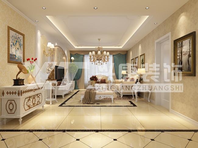曲江风景线140平米欧式客厅电视墙装修效果图