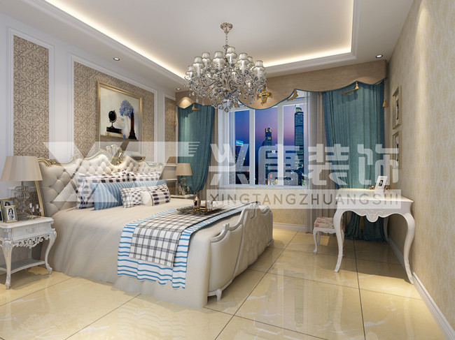 曲江风景线140平方四室两厅两卫美式次卧装修图片