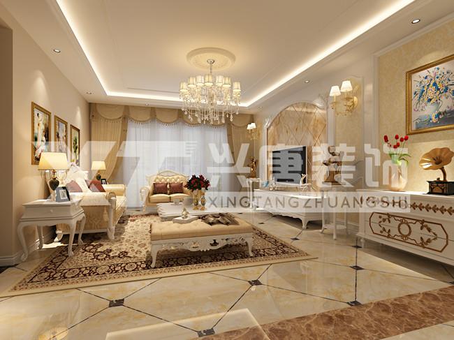 雅居乐铂琅峯240平米四室两厅两卫客厅欧式装修效果图