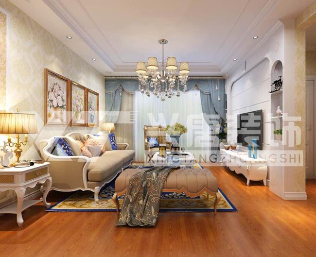宏府.麒麟山95平米客廳簡歐風格裝修效果圖