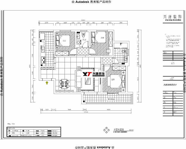天鵝灣118平米三室兩廳兩衛平面布置圖