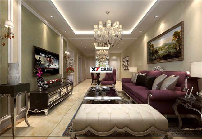 中鐵緹香郡100平米客廳簡歐風格裝修效果圖