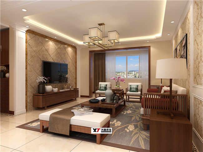 金域灣畔135m2客廳簡美風格裝修效果圖