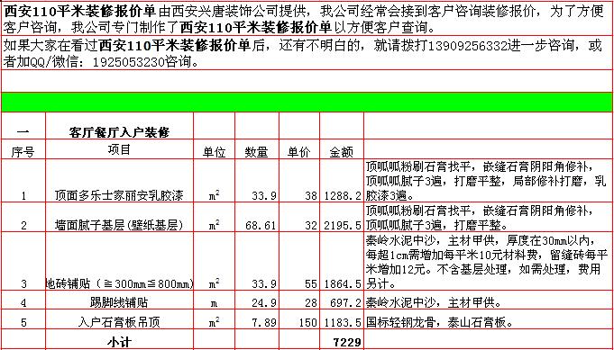 2018年西安110平米装修预算清单/报价明细表