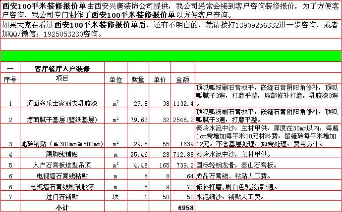 2018年西安100平米装修预算清单/报价明细表