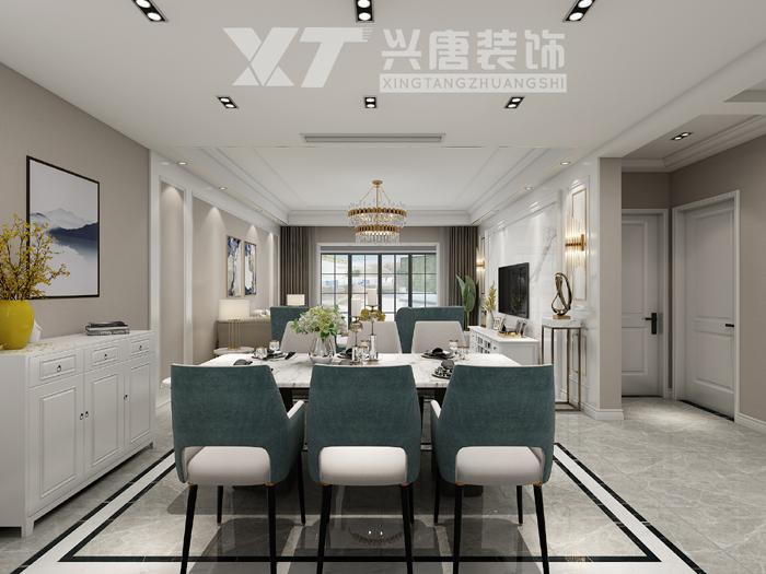 中海悦墅美式轻奢风格餐厅装修效果图