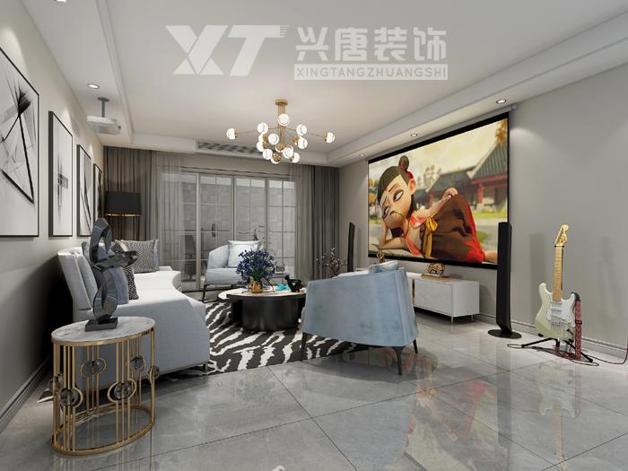 中海悦墅美式轻奢风格影音室装修效果图